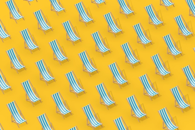 Rows of beach chairs in isometric style on a yellow background. 3d rendering