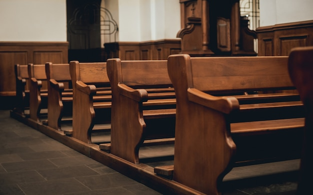 Rows of church benches.