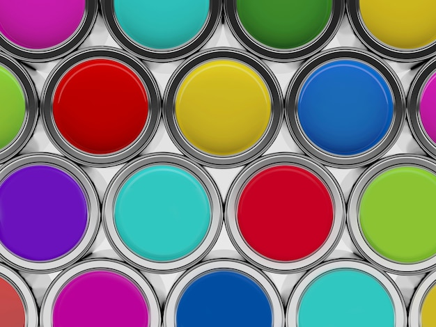 Rows of colorful paints in open metal cans top view.