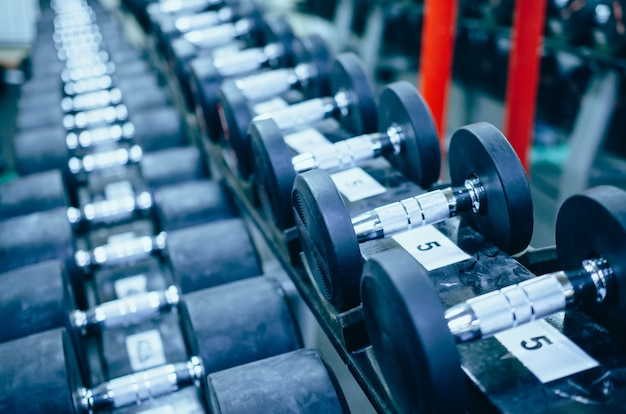 Rows of dumbbells in sport centre