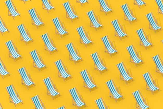 黄色の背景に等角投影スタイルのビーチチェアの列。 3dレンダリング
