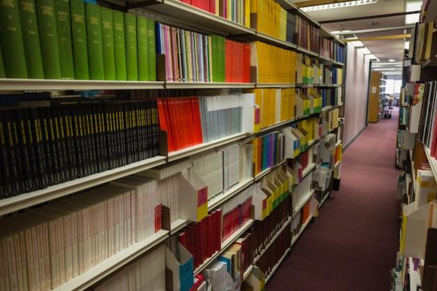 도서관에서 책장의 행