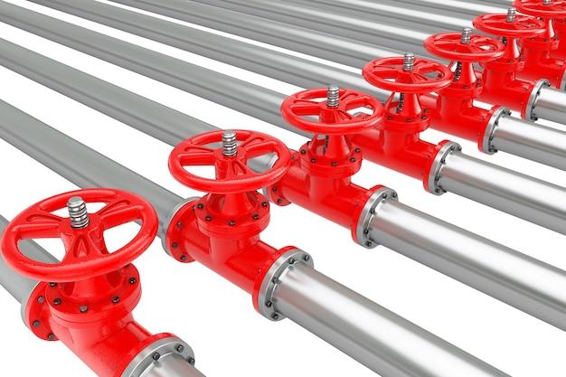 Строки газопроводов с клапанами на белом фоне. 3d рендеринг