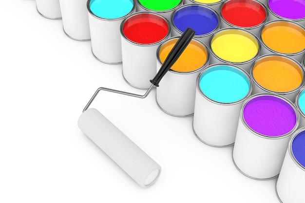 Строки банок с краской с валиком на белом фоне. 3d рендеринг