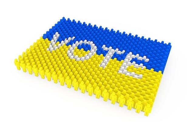 Ряды людей значок как флаг украины и знак голосования на белом фоне. 3d рендеринг