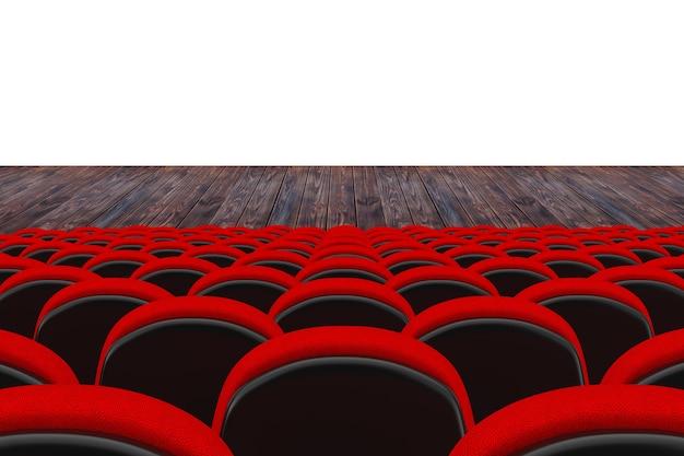 흰색 배경에 귀하의 디자인을 위한 빈 공간이 있는 영화관 또는 극장 장면 앞의 레드 시네마 또는 극장 좌석. 3d 렌더링