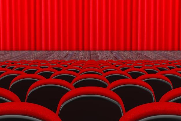 흰색 배경에 빨간 커튼이 있는 영화관 또는 극장 장면 앞의 빨간 영화관 또는 극장 좌석. 3d 렌더링
