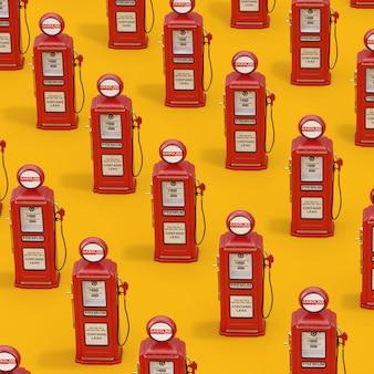 노란색 배경에 빨간색 복고풍 아이소메트릭 가스 펌프의 행. 3d 렌더링