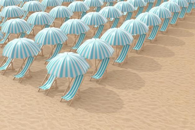 Ряды полосатых голубых шезлонгов с зонтиками на пляже крайнего крупного плана песка. 3d рендеринг