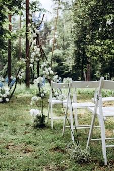 Ряды белых стульев на лужайке в сосновом лесу