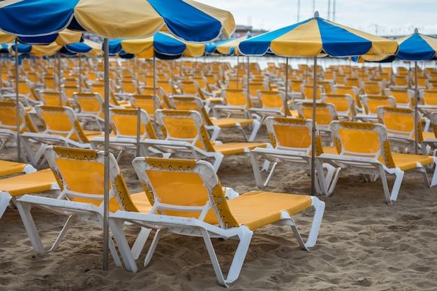 Ряды желтых шезлонгов с синими и желтыми зонтиками на пляже плайя де пуэрто-рико на канарских островах