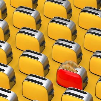노란색 배경에 빨간색 하나가 있는 노란색 빈티지 토스터의 행. 3d 렌더링