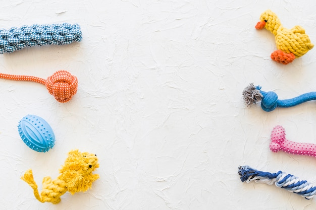 Rows of pet toys