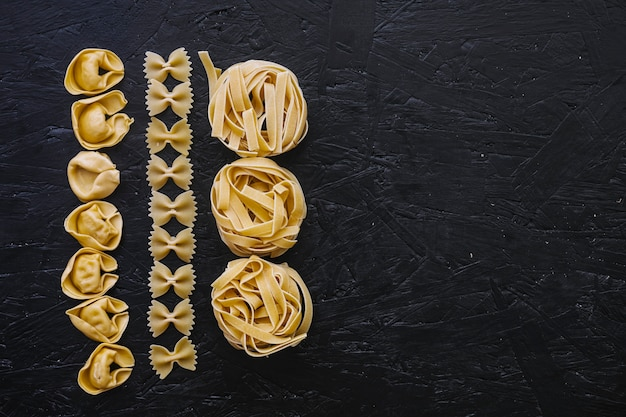 Rows of raw pasta