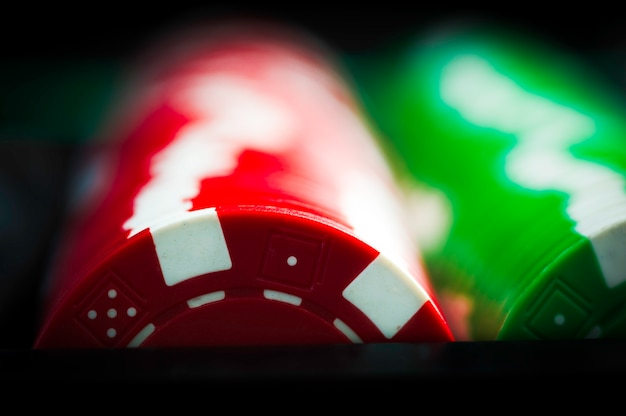 Rows of red and green poker chips