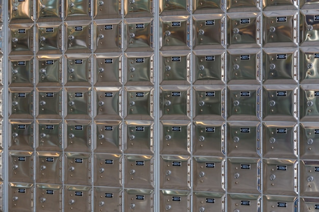 Rows of safe deposit boxes