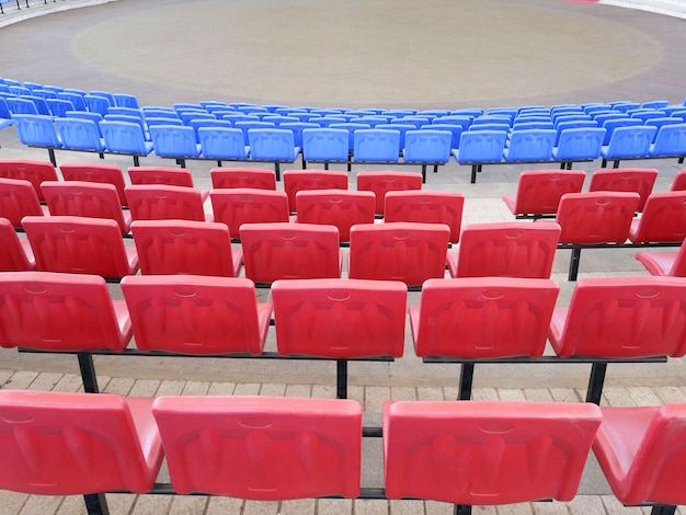 Rows of seats in the amphitheater