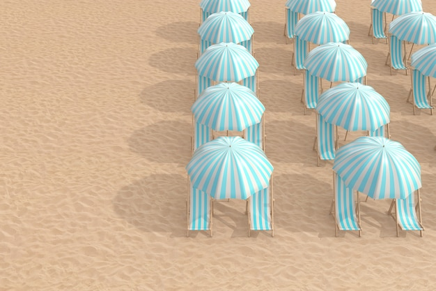 Rows of striped blue beach chairs with umbrellas on a beach sand extreme closeup. 3d rendering