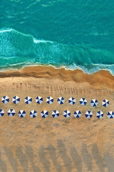 Rows of umbrellas on an empty beach