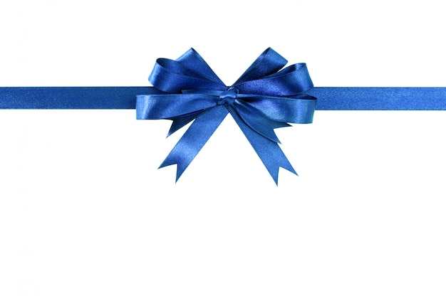 Королевский синий подарок ленты лук прямо горизонтальный, изолированных на белом.