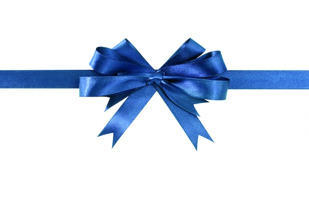 Royal blue gift ribbon bow straight horizontal isolated on white.