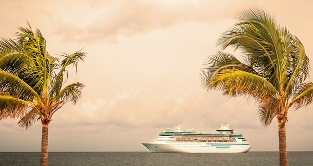 Royal caribbean's ship, , sails in the port of the bahamas