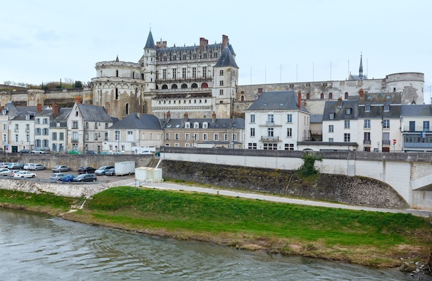 Royal chateau at amboise on the banks of loire river (france). spring urban view.