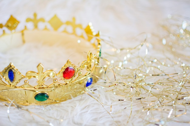 Royal gold crown with colored gems