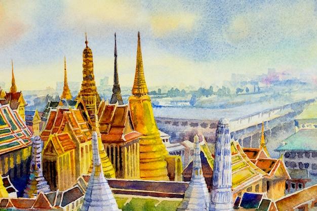 バンコクの日没時の王宮とワットプラケオ