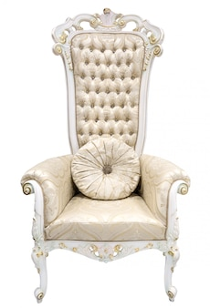 Royal king throne. ivory armchair in baroque style decorated with semiprecious stones.