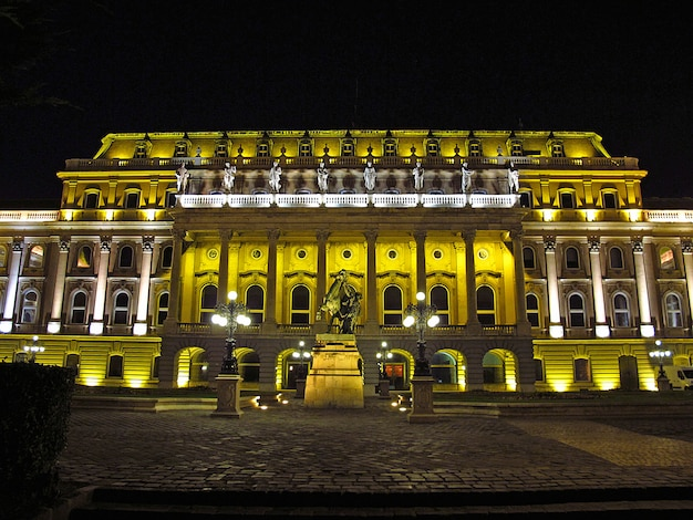The royal palace in budapest at night