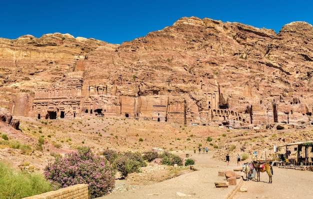The royal tombs at petra, unesco world heritage site in jordan