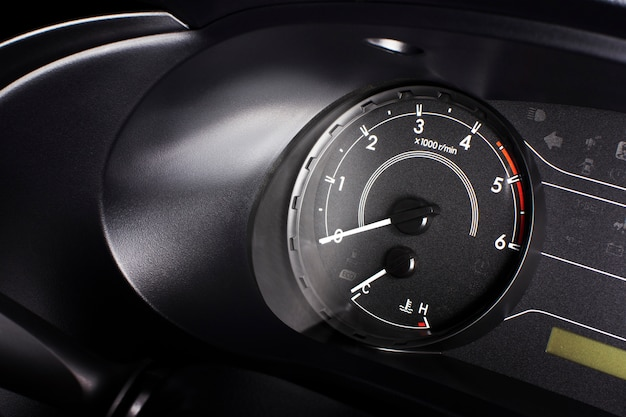 Rpm gauge, tachometer with 6000 rpm and fuel indicator meter.