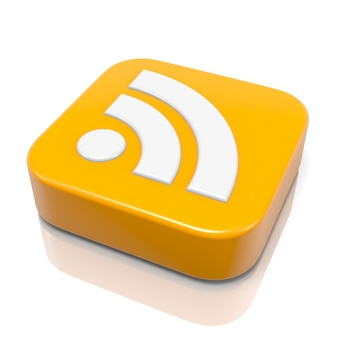Rss feed symbol on white background