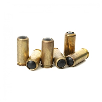 Rubber bullets isolated on white. self defense weapon