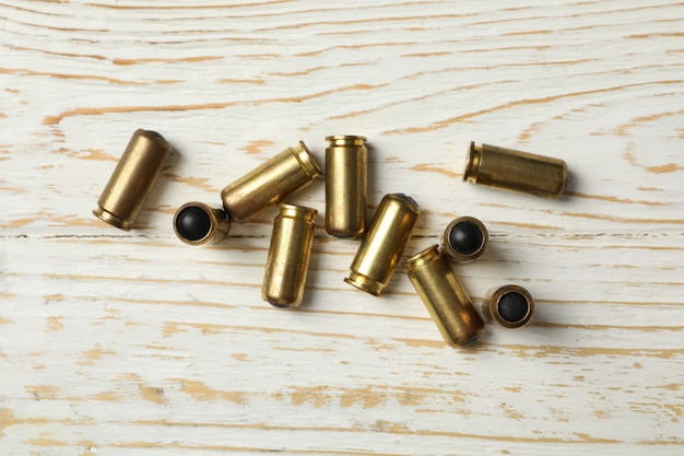 Rubber bullets on wooden, top view. self defense weapon