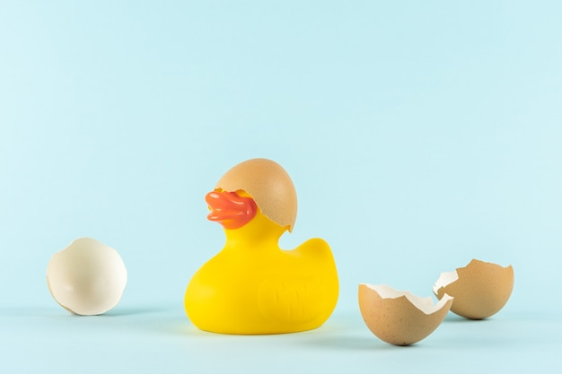 Rubber duck with cracked easter eggs on pastel blue background