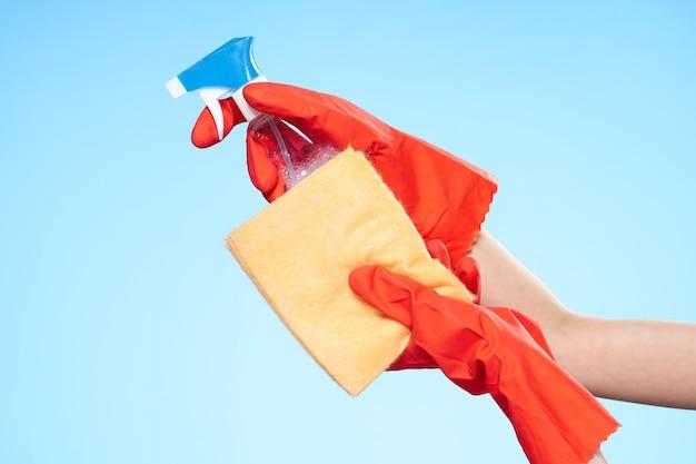 ゴム手袋洗剤サービスは自宅で仕事をします。