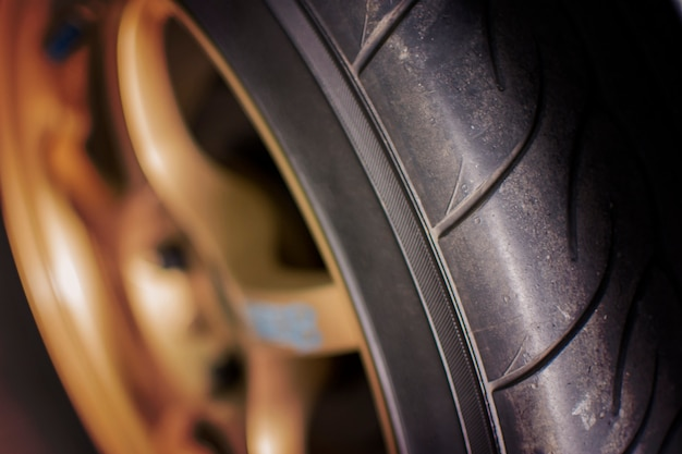 The rubber and wheel of racing car