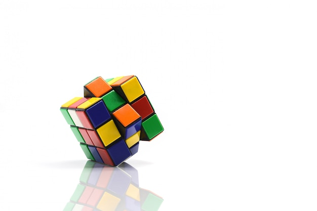 Rubik's cube on white.