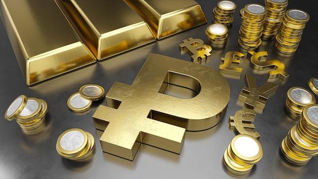 Рубль выгодно отличается от других валют укреплением рубля. фон фондовой биржи, банковское дело или финансовая концепция.