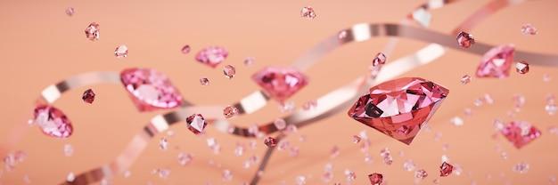 Ruby gem diamond group falling background soft focus bokeh 3d rendering