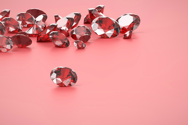 Ruby red diamond group placed on matte pink, 3d rendering