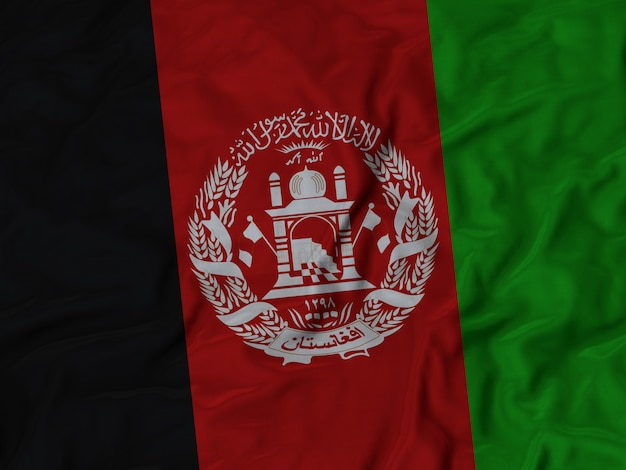 Ruffled flag of afghanistan blowing in wind