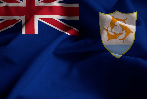 Ruffled flag of anguilla blowing in wind