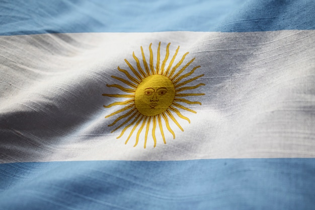 Ruffled flag of argentina blowing in wind