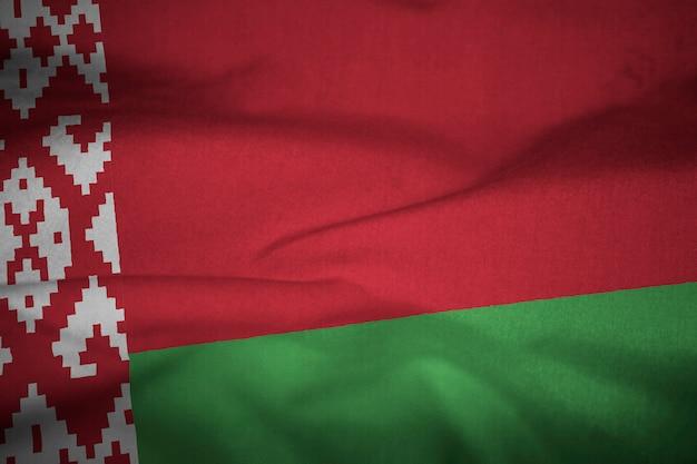 Ruffled flag of belarus blowing in wind