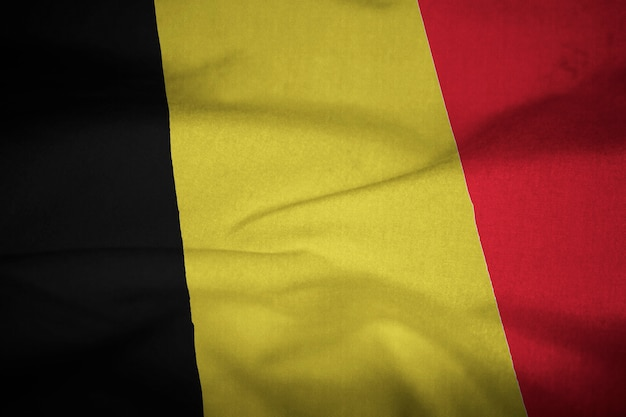 Ruffled flag of belgium blowing in wind