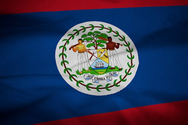 Ruffled flag of belize blowing in wind