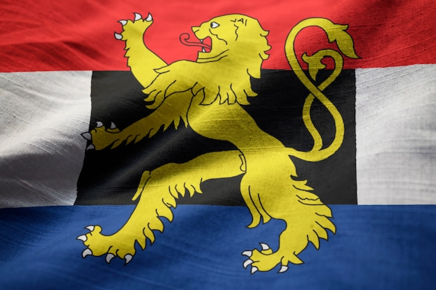Ruffled flag of benelux blowing in wind